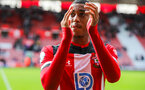 SOUTHAMPTON, ENGLAND - OCTOBER 6: Yan Valery of Southampton FC claps the supporters during the Premier League match between Southampton FC and Chelsea FC at St Mary's Stadium on October 6, 2019 in Southampton, England