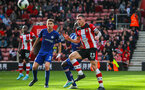 SOUTHAMPTON, ENGLAND - OCTOBER 6: Pierre-Emile Hojbjerg of Southampton FC (R) battles for possession with N'Golo Kante of Chelsea FC during the Premier League match between Southampton FC and Chelsea FC at St Mary's Stadium on October 6, 2019 in Southampton, England