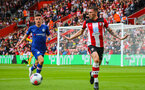 SOUTHAMPTON, ENGLAND - OCTOBER 6: Pierre-Emile Hojbjerg of Southampton FC gestures during the Premier League match between Southampton FC and Chelsea FC at St Mary's Stadium on October 6, 2019 in Southampton, England