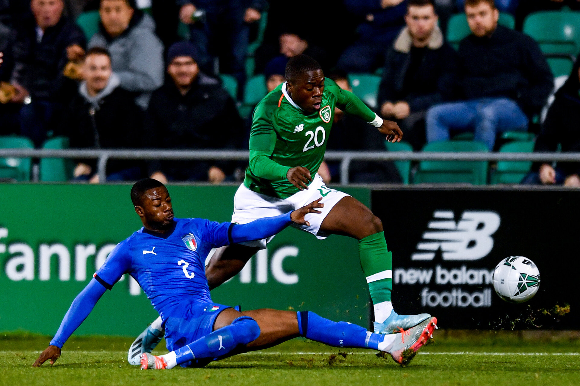 Dublin , Ireland - 10 October 2019; Michael Obafemi of Republic of Ireland is tackled by Claud Adjapong of Italy during the UEFA European U21 Championship Qualifier Group 1 match between Republic of Ireland and Italy at Tallaght Stadium in Tallaght, Dublin. (Photo By Sam Barnes/Sportsfile via Getty Images)