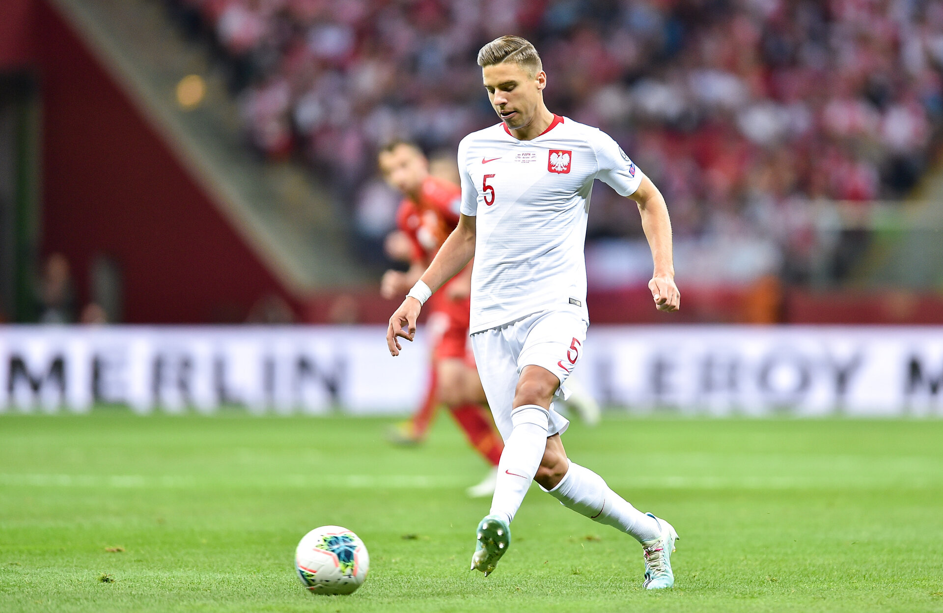 WARSAW, POLAND - OCTOBER 13: Jan Bednarek of Poland in action during the UEFA Euro 2020 qualifier between Poland and North Macedonia on October 13, 2019 in Warsaw, Poland. (Photo by PressFocus/MB Media/Getty Images)