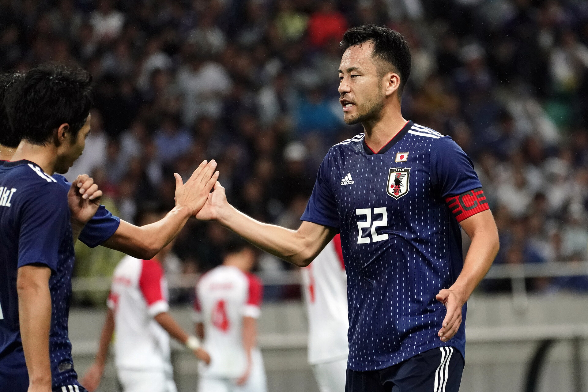 SAITAMA, JAPAN - OCTOBER 10: Maya Yoshida #22 of Japan celebrates after scoring his team`s sixth goal during the FIFA World Cup Asian Qualifier second round match between Japan and Mongolia at Saitama Stadium on October 10, 2019 in Saitama, Japan. (Photo by Koji Watanabe/Getty Images)