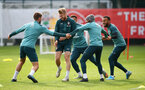 SOUTHAMPTON, ENGLAND - OCTOBER 23: Stuart Armstrong surrounded by his team mates during a Southampton FC training session at the Staplewood Campus on October 23, 2019 in Southampton, England. (Photo by Matt Watson/Southampton FC via Getty Images)