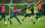 SOUTHAMPTON, ENGLAND - OCTOBER 24: Jan Bednarek(L) and James Ward-Prowse during a Southampton FC training session at the Staplewood Campus on October 24, 2019 in Southampton, England. (Photo by Matt Watson/Southampton FC via Getty Images)
