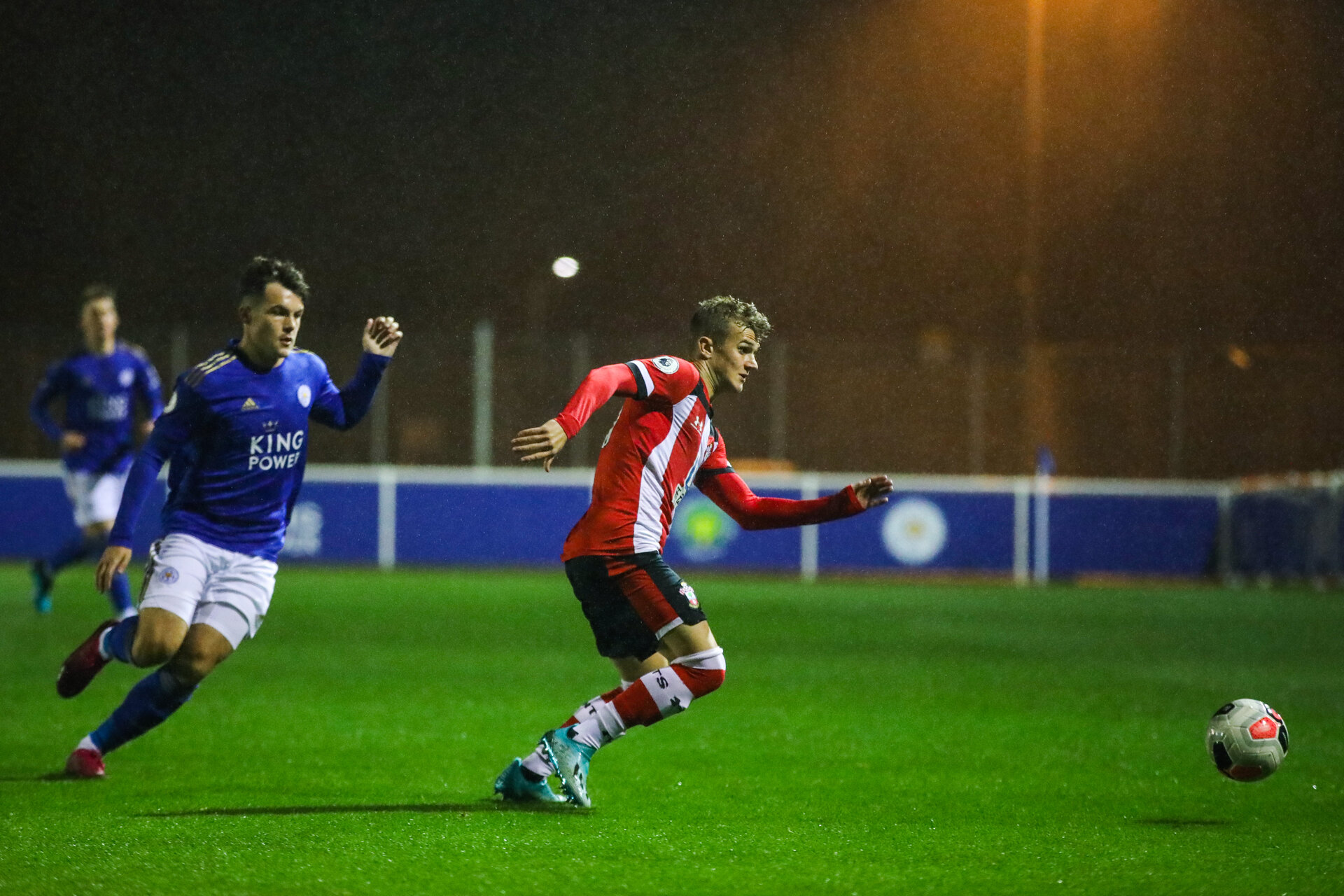 LEICESTER, ENGLAND - OCTOBER 25: Kornelius Hansen of Southampton FC during the Premier League 2 match between Leicester City and Southampton FC at Holmes Park on October 25, 2019 in Leicester, England