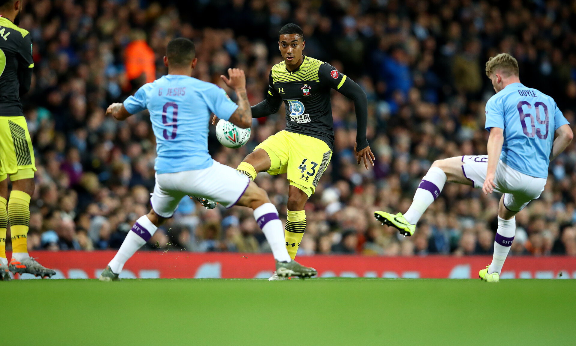 MANCHESTER, ENGLAND - OCTOBER 29: Yan Valery of Southampton during the Carabao Cup Round of 16 match between Manchester City and Southampton FC at the Etihad Stadium on October 29, 2019 in Manchester, England. (Photo by Matt Watson/Southampton FC via Getty Images)