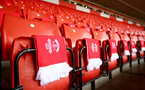SOUTHAMPTON, ENGLAND - NOVEMBER 09: Southampton FC scarves during the Premier League match between Southampton FC and Everton FC at St Mary's Stadium on November 09, 2019 in Southampton, United Kingdom. (Photo by Matt Watson/Southampton FC via Getty Images)