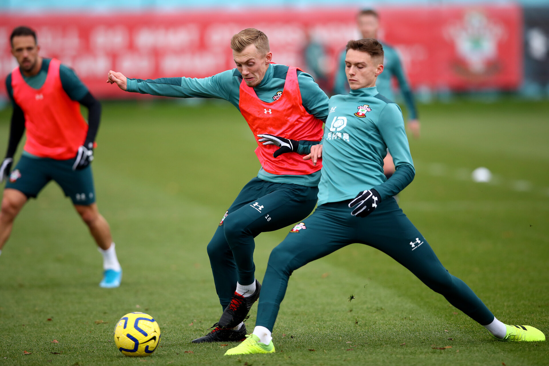 SOUTHAMPTON, ENGLAND - NOVEMBER 19: James Ward-Prowse(L) and Will Smallbone during a Southampton FC training session at the Staplewood Campus on November 19, 2019 in Southampton, England. (Photo by Matt Watson/Southampton FC via Getty Images)