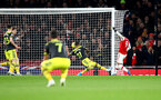 LONDON, ENGLAND - NOVEMBER 23: Alexandre Lacazette of Arsenal scores during the Premier League match between Arsenal FC and Southampton FC at Emirates Stadium on November 23, 2019 in London, United Kingdom. (Photo by Matt Watson/Southampton FC via Getty Images)