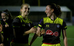 YEOVIL, ENGLAND - November 24: Catllin Morris (L) and Rachel Panting during the SRWFL at The Avenue between Yeovil and Southampton Women on November 24 2019, Yeovil, England. (Photo by Isabelle Field/Southampton FC via Getty Images)