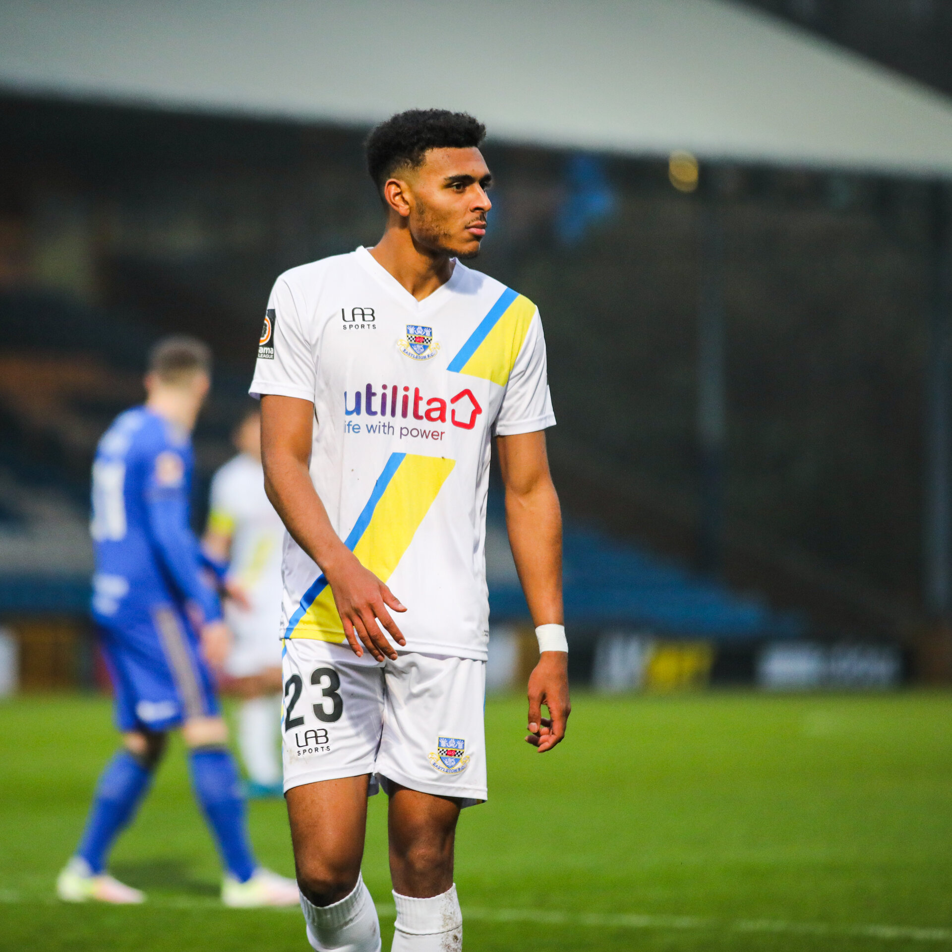 HALIFAX, ENGLAND - NOVEMBER 23: Marcus Barnes of Eastleigh FC during the Vanarama National League match between Halifax Town and Eastleigh FC at the The Shay Stadium on November 23, 2019 in Halifax, England