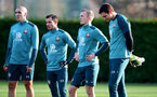 SOUTHAMPTON, ENGLAND - NOVEMBER 28: L to R Oriol Romeu, Cedric Soares, James Ward-Prowse and Alex McCarthy during a Southampton FC training session at the Staplewood Campus on November 28, 2019 in Southampton, England. (Photo by Matt Watson/Southampton FC via Getty Images)