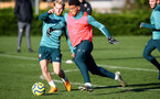 SOUTHAMPTON, ENGLAND - DECEMBER 02: Josh Sims(L) and Ché Adams during a Southampton FC training session at the Staplewood Campus on December 02, 2019 in Southampton, England. (Photo by Matt Watson/Southampton FC via Getty Images)