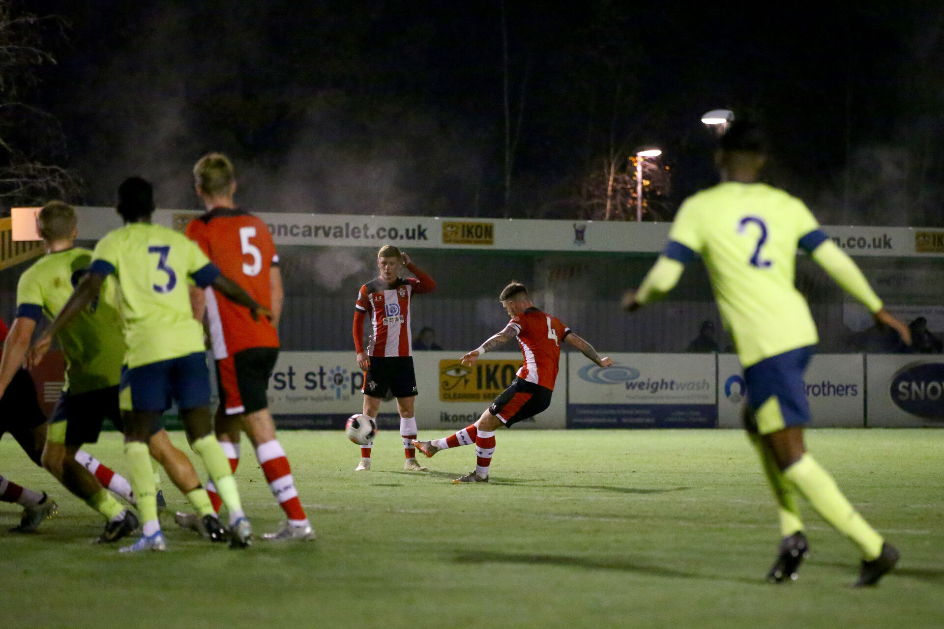 TOTTON, ENGLAND - DECEMBER 02: Callum Slattery free kick during the Premier League Cup, at AFC Totton, Snows Stadium between Southampton U23 and AFC Bournemouth on December 02 2019, Totton England. (Photo by Isabelle Field/Southampton FC via Getty Images)