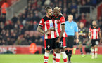 SOUTHAMPTON, ENGLAND - DECEMBER 4: Danny Ings and Moussa Djenepo during the Premier League match between Southampton FC and with Norwich City FC at St Mary's Stadium on December 4, 2019 in Southampton, United Kingdom. (Photo by Chris Moorhouse/Southampton FC via Getty Images)