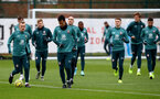 SOUTHAMPTON, ENGLAND - DECEMBER 19: Players warm up during a Southampton FC training session at the Staplewood Campus on December 19, 2019 in Southampton, England. (Photo by Matt Watson/Southampton FC via Getty Images)
