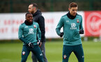 SOUTHAMPTON, ENGLAND - DECEMBER 19: Michael Obafemi(L) and Jan Bednarek during a Southampton FC training session at the Staplewood Campus on December 19, 2019 in Southampton, England. (Photo by Matt Watson/Southampton FC via Getty Images)