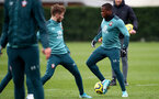 SOUTHAMPTON, ENGLAND - DECEMBER 19: Jake Vokins(L) and Michael Obafemi during a Southampton FC training session at the Staplewood Campus on December 19, 2019 in Southampton, England. (Photo by Matt Watson/Southampton FC via Getty Images)
