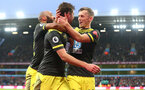 BIRMINGHAM, ENGLAND - DECEMBER 21: L to R Nathan Redmond, Jack Stephens(scorer) and James Ward-Prowse of Southampton celebrate during the Premier League match between Aston Villa and Southampton FC at Villa Park on December 21, 2019 in Birmingham, United Kingdom. (Photo by Matt Watson/Southampton FC via Getty Images)