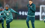 SOUTHAMPTON, ENGLAND - DECEMBER 25: Sofiane Boufal(L) and Jan Bednarek during a Christmas day training session at the Staplewood Campus on December 25, 2019 in Southampton, England. (Photo by Matt Watson/Southampton FC via Getty Images)