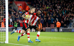 SOUTHAMPTON, ENGLAND - DECEMBER 28: Danny Ings(L) of Southampton celebrates with team mate Moussa Djenepo after scoring during the Premier League match between Southampton FC and Crystal Palace at St Mary's Stadium on December 28, 2019 in Southampton, United Kingdom. (Photo by Matt Watson/Southampton FC via Getty Images)