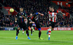 SOUTHAMPTON, ENGLAND - DECEMBER 28: Danny Ings(R) of Southampton heads at goal during the Premier League match between Southampton FC and Crystal Palace at St Mary's Stadium on December 28, 2019 in Southampton, United Kingdom. (Photo by Matt Watson/Southampton FC via Getty Images)