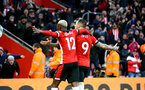 SOUTHAMPTON, ENGLAND - JANUARY 01: Moussa Djenepo (L) and Danny Ings goal celebration during the Premier League match between Southampton FC and Tottenham Hotspur at St Mary's Stadium on January 1, 2020 in Southampton, United Kingdom. (Photo by Isabelle Field/Southampton FC via Getty Images)
