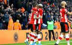 SOUTHAMPTON, ENGLAND - JANUARY 01: Danny Ings (L) and Moussa Djenepo celebration during the Premier League match between Southampton FC and Tottenham Hotspur at St Mary's Stadium on January 1, 2020 in Southampton, United Kingdom. (Photo by Isabelle Field/Southampton FC via Getty Images)