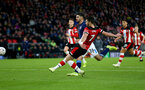 SOUTHAMPTON, ENGLAND - JANUARY 04: Shane Long of Southampton scores but the goal is ruled out by VAR during the FA Cup Third Round match between Southampton FC and Huddersfield Town at St. Mary's Stadium on January 04, 2020 in Southampton, England. (Photo by Matt Watson/Getty Images)