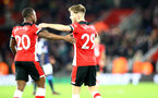 SOUTHAMPTON, ENGLAND - JANUARY 04: Michael Obafemi(L) and Jake Vokins of Southampton during the FA Cup Third Round match between Southampton FC and Huddersfield Town at St. Mary's Stadium on January 04, 2020 in Southampton, England. (Photo by Matt Watson/Getty Images)