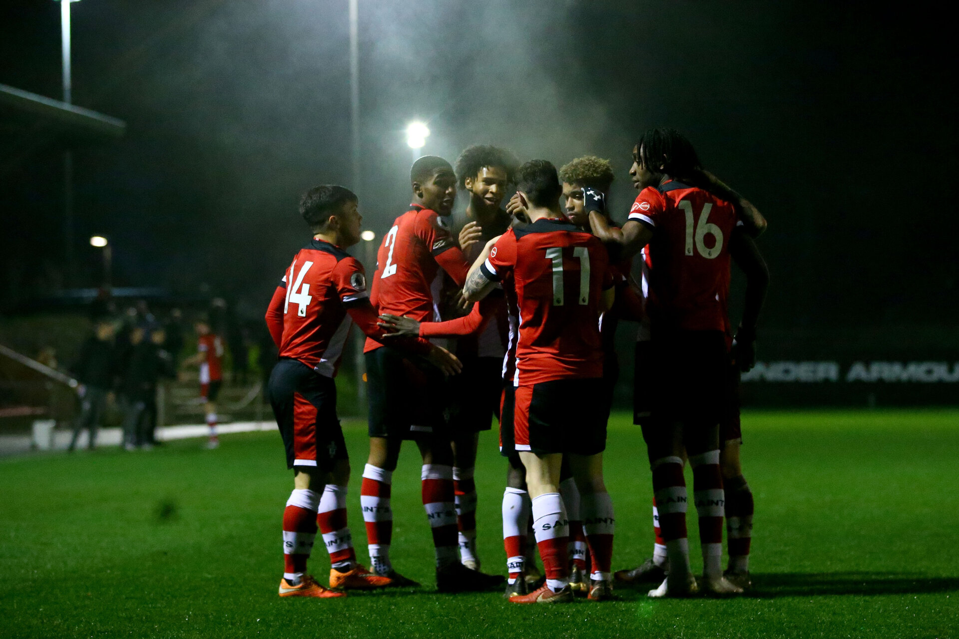 SOUTHAMPTON, ENGLAND - JANUARY 06: team goal celebration during the Premier League 2 match between Southampton U23 and Everton at Staplewood Training Ground on January 6, 2020 in Southampton, United Kingdom. (Photo by Isabelle Field/Southampton FC via Getty Images)