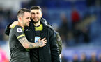 LEICESTER, ENGLAND - JANUARY 11: Danny Ings(L) and Shane Long of Southampton during the Premier League match between Leicester City and Southampton FC at The King Power Stadium on January 11, 2020 in Leicester, United Kingdom. (Photo by Matt Watson/Southampton FC via Getty Images)