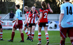 SOUTHAMPTON, ENGLAND - JANUARY 12: Ella Pusey (L) and Ella Morris (R) during the SRWFL at Snow's Stadium between Southampton Women and Chesham on January 12 2020, Totton, England. (Photo by Isabelle Field/Southampton FC via Getty Images)