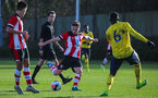 SOUTHAMPTON, ENGLAND - JANUARY 18: Callum Watts of Southampton FC has a shot during the Barclays Under 18 Premier League match between Southampton FC and Arsenal FC at the Staplewood Campus on January 18, 2020 in Southampton, England