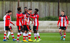 SOUTHAMPTON, ENGLAND - JANUARY 23: Jack Turner of Southampton FC (C) celebrates with teammates after scoring his side's second goal during the Barclays Under 18 Premier League match between Southampton FC and Swansea City at the Staplewood Campus on January 23, 2020 in Southampton, England