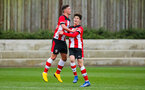 SOUTHAMPTON, ENGLAND - JANUARY 23: Jack Turner of Southampton FC (L) celebrates with Marco Rus of Southampton FC after scoring his side's second goal during the Barclays Under 18 Premier League match between Southampton FC and Swansea City at the Staplewood Campus on January 23, 2020 in Southampton, England