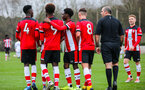 SOUTHAMPTON, ENGLAND - JANUARY 23: Southampton players celebrates after Ramello Mitchell of Southampton FC scores his side's fourth goal during the Barclays Under 18 Premier League match between Southampton FC and Swansea City at the Staplewood Campus on January 23, 2020 in Southampton, England
