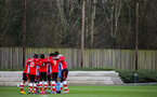 SOUTHAMPTON, ENGLAND - JANUARY 23: Southampton players huddle during the Barclays Under 18 Premier League match between Southampton FC and Swansea City at the Staplewood Campus on January 23, 2020 in Southampton, England