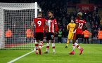 SOUTHAMPTON, ENGLAND - JANUARY 25: Sofiane Boufal(centre) of Southampton celebrates after scoring to make it 1-1 during the FA Cup Fourth Round match between Southampton FC and Tottenham Hotspur at St. Mary's Stadium on January 25, 2020 in Southampton, England. (Photo by Matt Watson/Southampton FC via Getty Images)