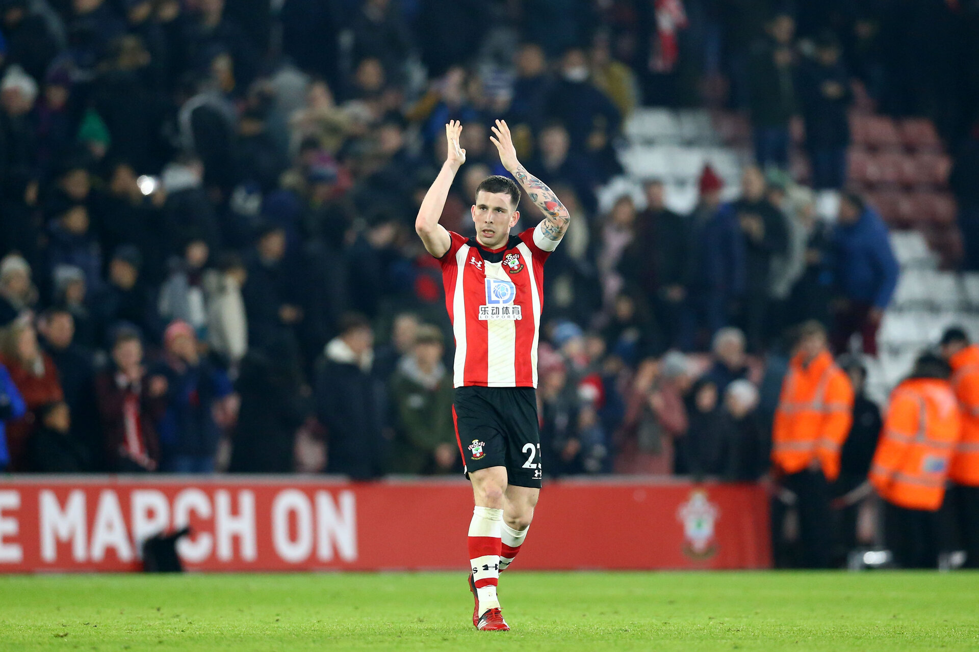 SOUTHAMPTON, ENGLAND - JANUARY 25: Pierre-Emile Hojbjerg during the FA Cup Fourth Round match between Southampton FC and Tottenham Hotspur at St. Mary's Stadium on January 25, 2020 in Southampton, England. (Photo by Isabelle Field/Southampton FC via Getty Images)
