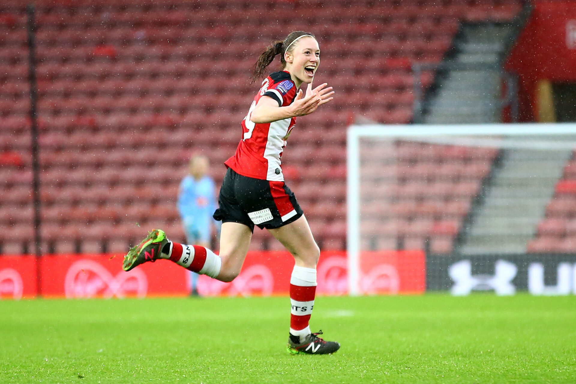 SOUTHAMPTON, ENGLAND - JANUARY 26: Rachel Panting goal celebration during the Women's FA Cup Fourth Round match between Southampton FC and Coventry United Ladies at St. Mary's Stadium on January 26, 2020 in Southampton, England. (Photo by Isabelle Field/Southampton FC via Getty Images)