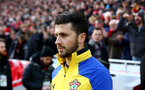 LIVERPOOL, ENGLAND - FEBRUARY 01: Shane Long of Southampton during the Premier League match between Liverpool FC and Southampton FC at Anfield on February 01, 2020 in Liverpool, United Kingdom. (Photo by Matt Watson/Southampton FC via Getty Images)