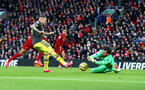 LIVERPOOL, ENGLAND - FEBRUARY 01: Danny Ings(L) of Southampton is denied by Allison during the Premier League match between Liverpool FC and Southampton FC at Anfield on February 01, 2020 in Liverpool, United Kingdom. (Photo by Matt Watson/Southampton FC via Getty Images)