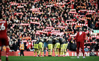 LIVERPOOL, ENGLAND - FEBRUARY 01: Southampton players huddle during the Premier League match between Liverpool FC and Southampton FC at Anfield on February 01, 2020 in Liverpool, United Kingdom. (Photo by Matt Watson/Southampton FC via Getty Images)