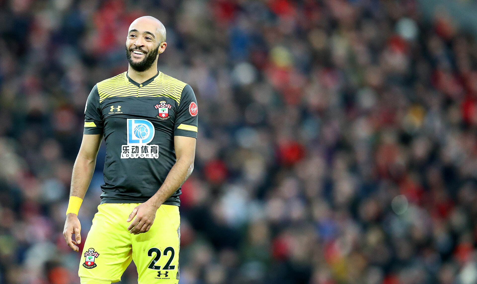 LIVERPOOL, ENGLAND - FEBRUARY 01: Nathan Redmond of Southampton during the Premier League match between Liverpool FC and Southampton FC at Anfield on February 01, 2020 in Liverpool, United Kingdom. (Photo by Matt Watson/Southampton FC via Getty Images)