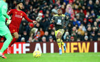 LIVERPOOL, ENGLAND - FEBRUARY 01: Michael Obafemi of Southampton during the Premier League match between Liverpool FC and Southampton FC at Anfield on February 01, 2020 in Liverpool, United Kingdom. (Photo by Matt Watson/Southampton FC via Getty Images)