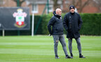 SOUTHAMPTON, ENGLAND - FEBRUARY 04: Manager Ralph Hasenhuttl(R) and Assistant Coach Craig Flemming(L) during a Southampton FC training session at the Staplewood Campus on February 04, 2020 in Southampton, England. (Photo by Matt Watson/Southampton FC via Getty Images)