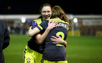 PORTSMOUTH, ENGLAND - FEBRUARY 05: Rachel Panting (L) and Ella Morris (R) during the National League Cup quarter-final game between Portsmouth and Southampton Women at Privett Park Stadium on February 05, 2020 in Portsmouth, England. (Photo by Isabelle Field/Southampton FC via Getty Images)