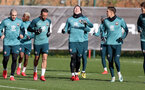 SOUTHAMPTON, ENGLAND - FEBRUARY 04: Pierre-Emile Højbjerg(centre) enjoys the sunlight during a Southampton FC training session at the Staplewood Campus on February 04, 2020 in Southampton, England. (Photo by Matt Watson/Southampton FC via Getty Images)