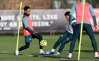SOUTHAMPTON, ENGLAND - FEBRUARY 04: Kyle Walker-Peters(L) and Ché Adams during a Southampton FC training session at the Staplewood Campus on February 04, 2020 in Southampton, England. (Photo by Matt Watson/Southampton FC via Getty Images)